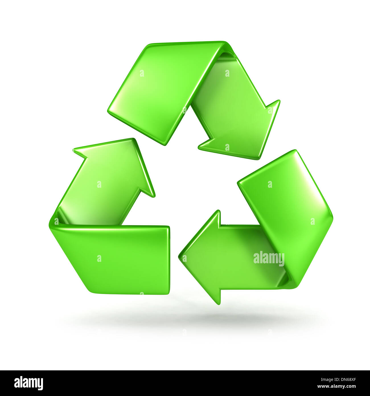 3d recycle sign, isolated white background, 3d image Stock Photo