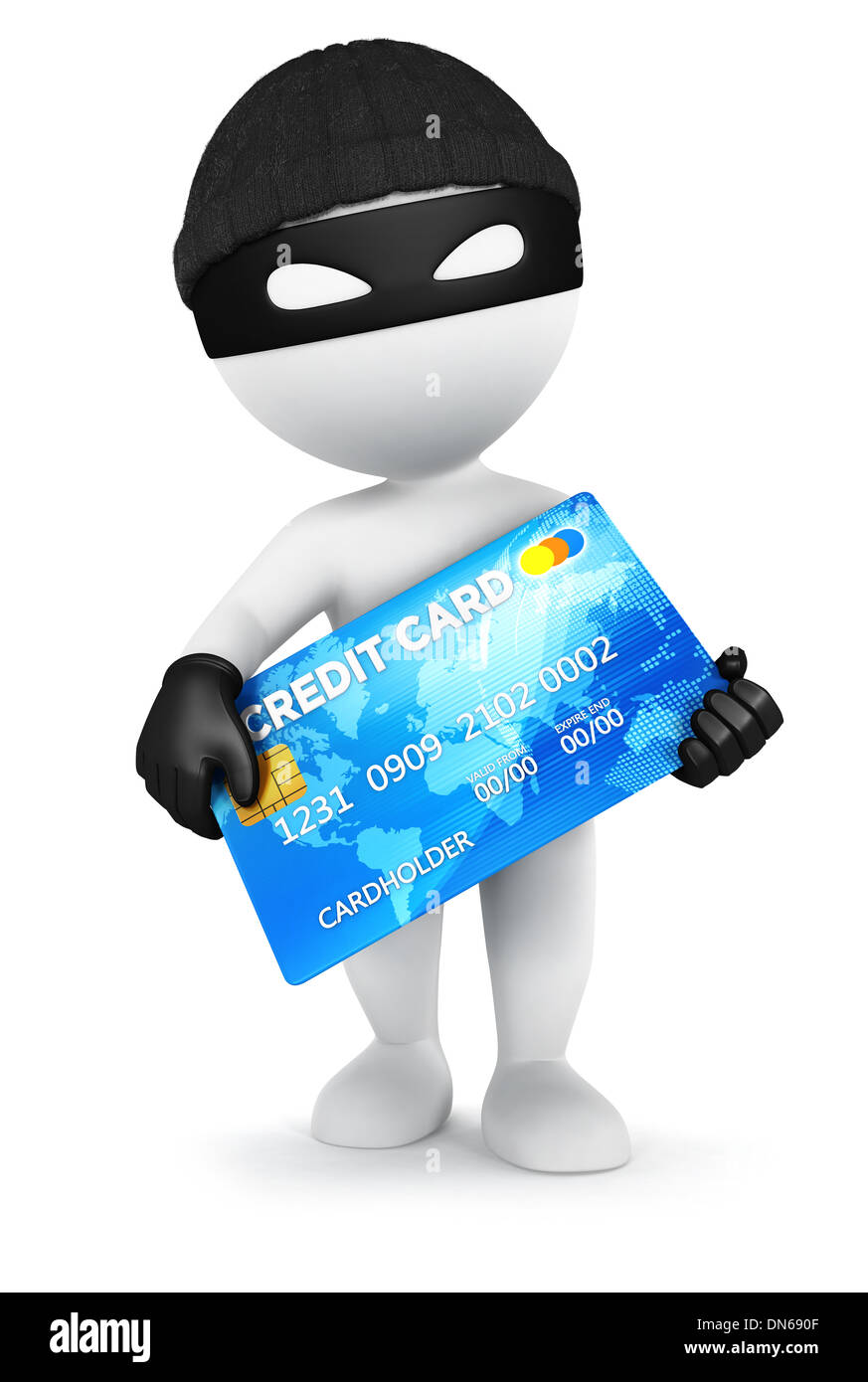 3d white people thief with a credit card, isolated white background, 3d image Stock Photo