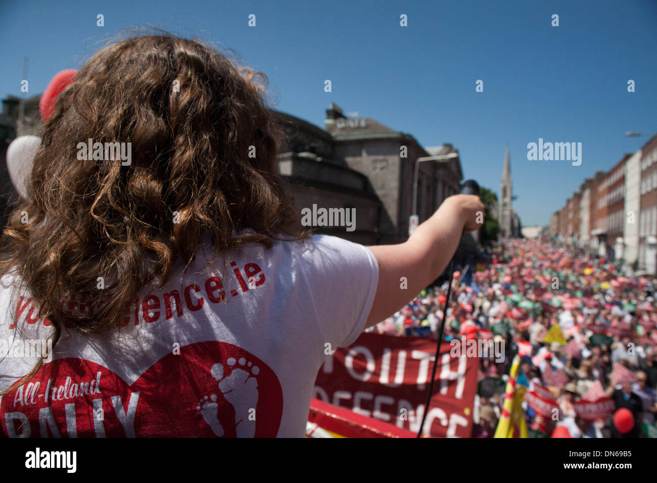 One of the organisers of the All Ireland Rally for life calls out to the 60,000 strong crowd there to protest against Abortion - Stock Image