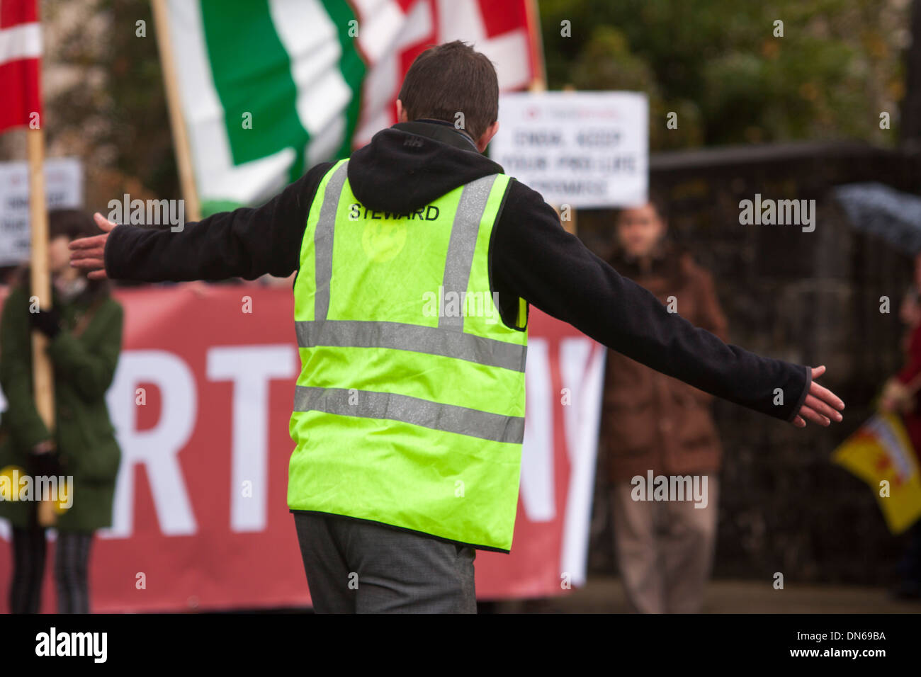 A Steward at a Pro life march in Castlebar,Co. Mayo,Ireland,where protesters march against the new Irish Abortion laws - Stock Image