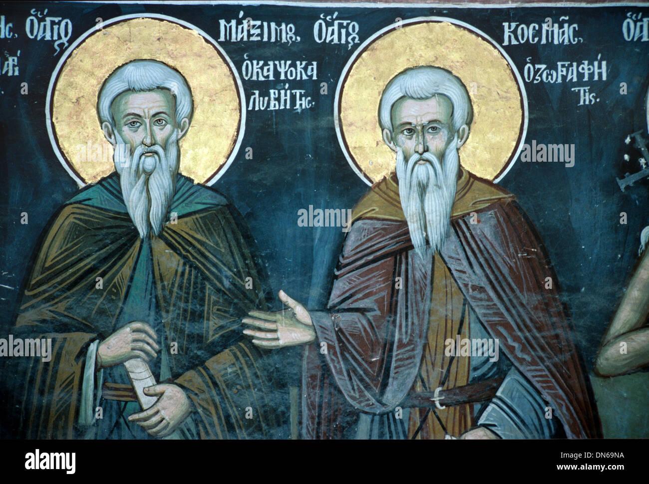 Saints Maximus the Greek and Cosmas Fresco or Wall Painting (1783) Xeropotamou Monastery Mount Athos Greece - Stock Image