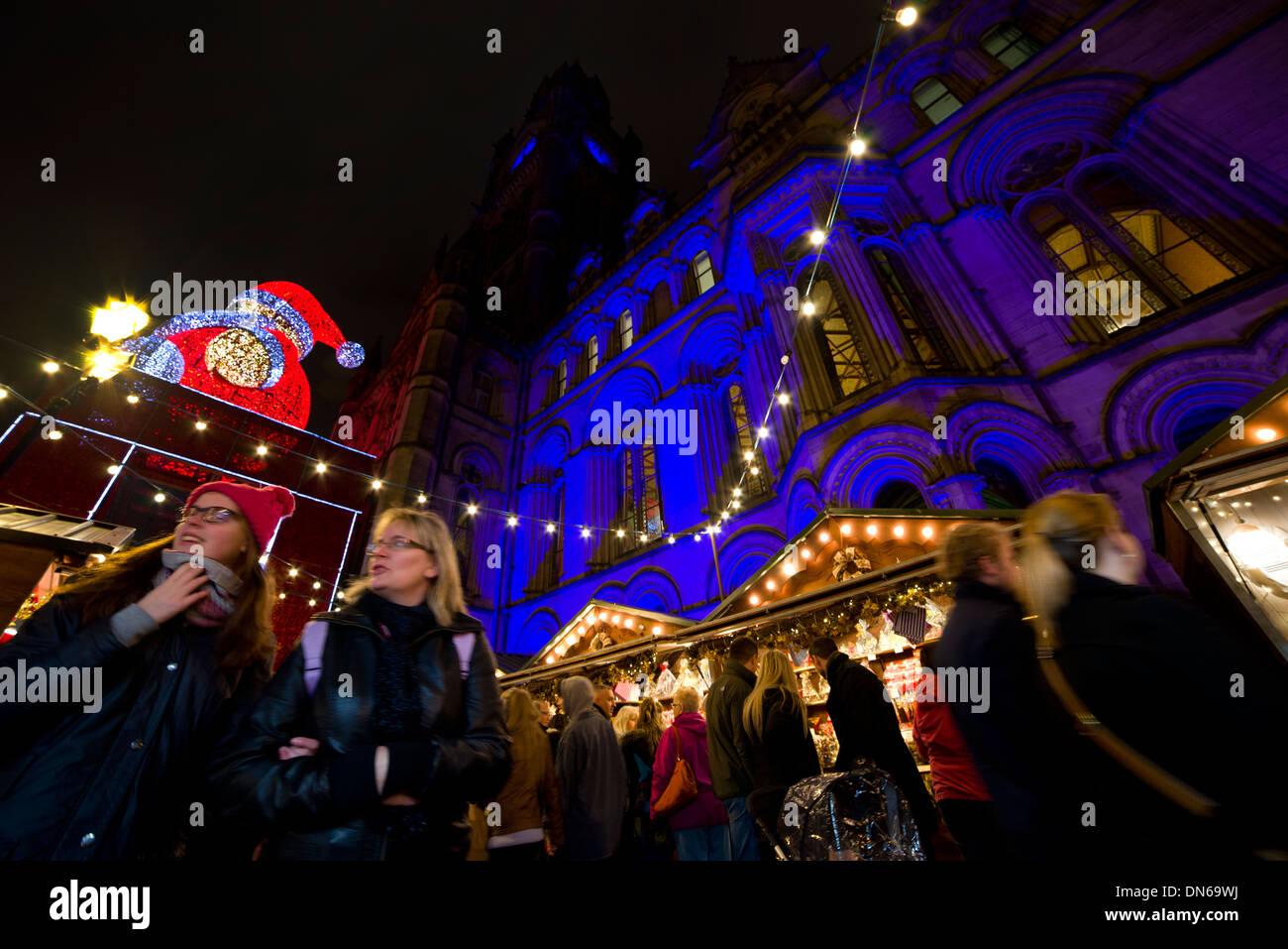 Manchester Christmas market, stall, bottle stoppers, 2013, night, European, German, Italian, winter, December, England, EU - Stock Image