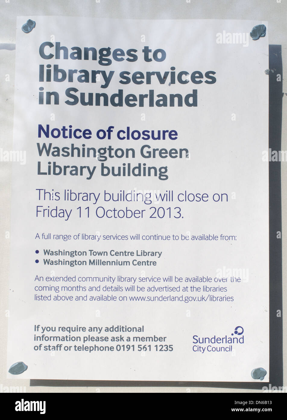 Notice announcing closure of Washington Green branch library, Sunderland north east England UK - Stock Image