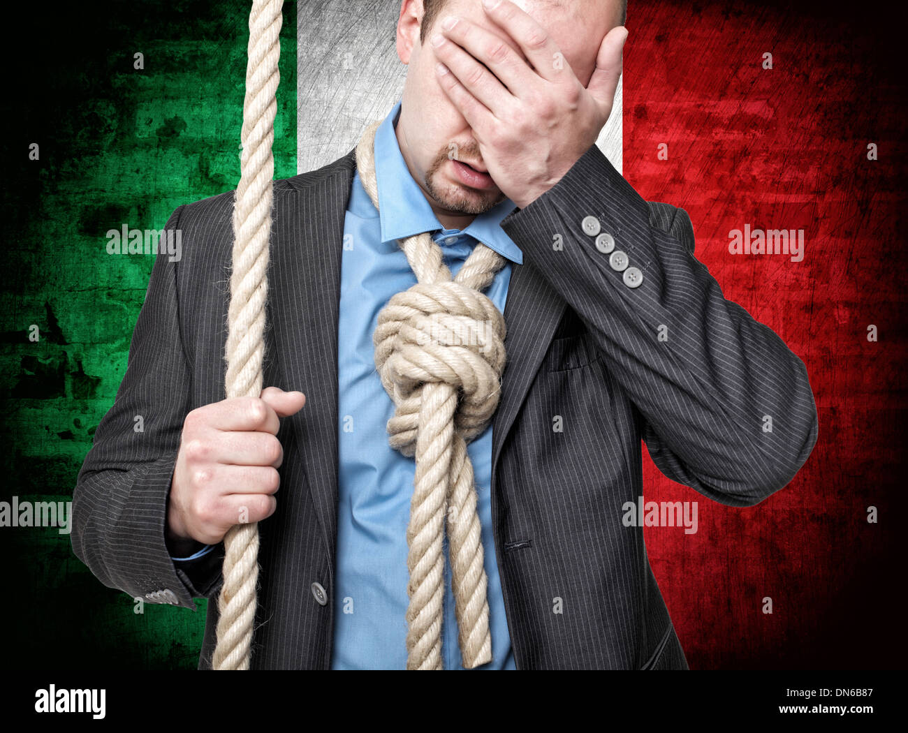 desperate man with loop and italian flag background - Stock Image