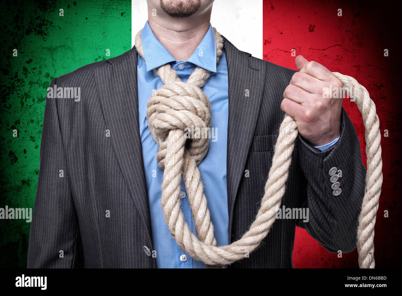 caucasian businessman with loop in his hand and italian flag - Stock Image