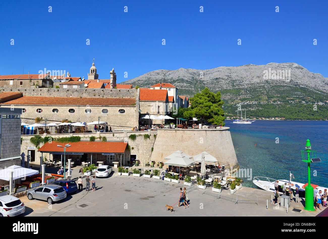 Ariel photograph from deck of ferry down at KORCULA  town as it  stops briefly  on route to Dubrovnik , Croatia - Stock Image