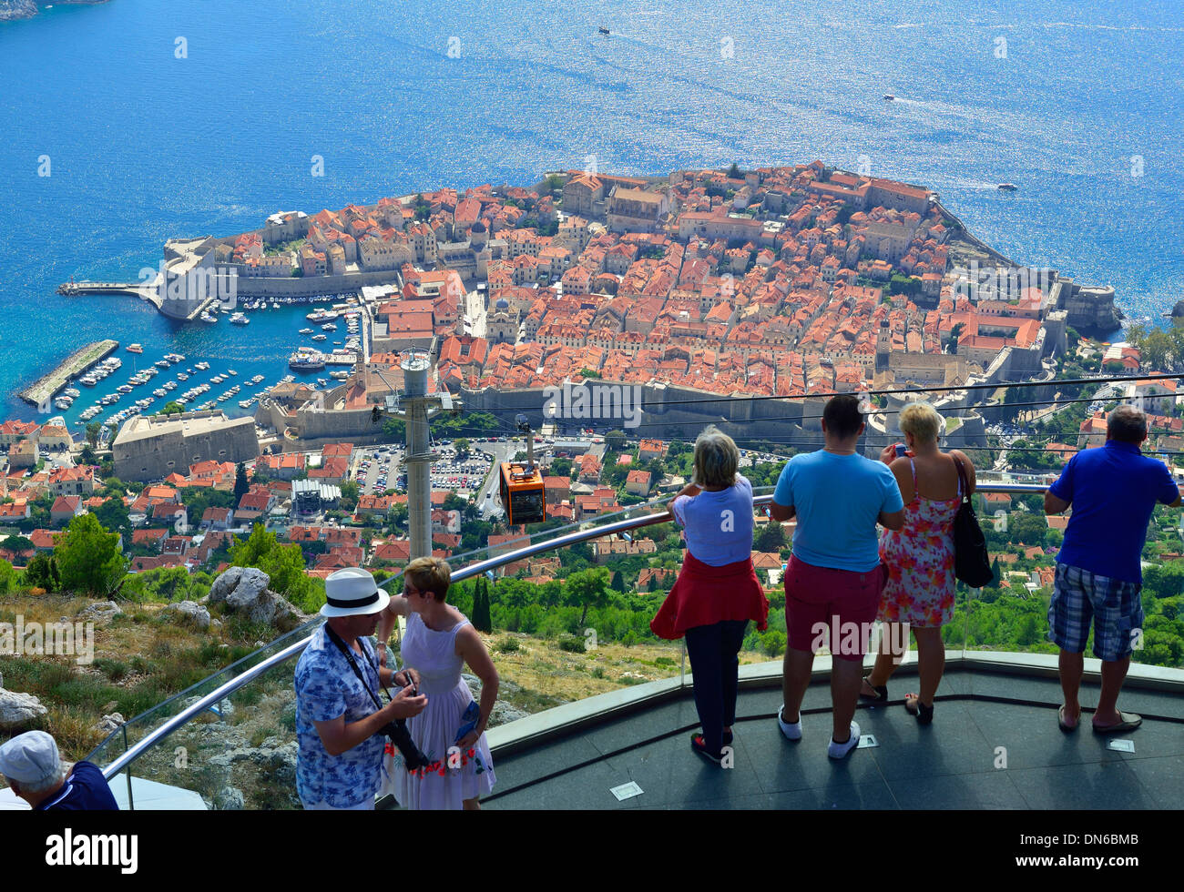 Dubrovnik - panoramic view looking down to the fortified walls of the city from the summit of Mount Srd,next to  the Dubrovnik cable car, Croatia - Stock Image