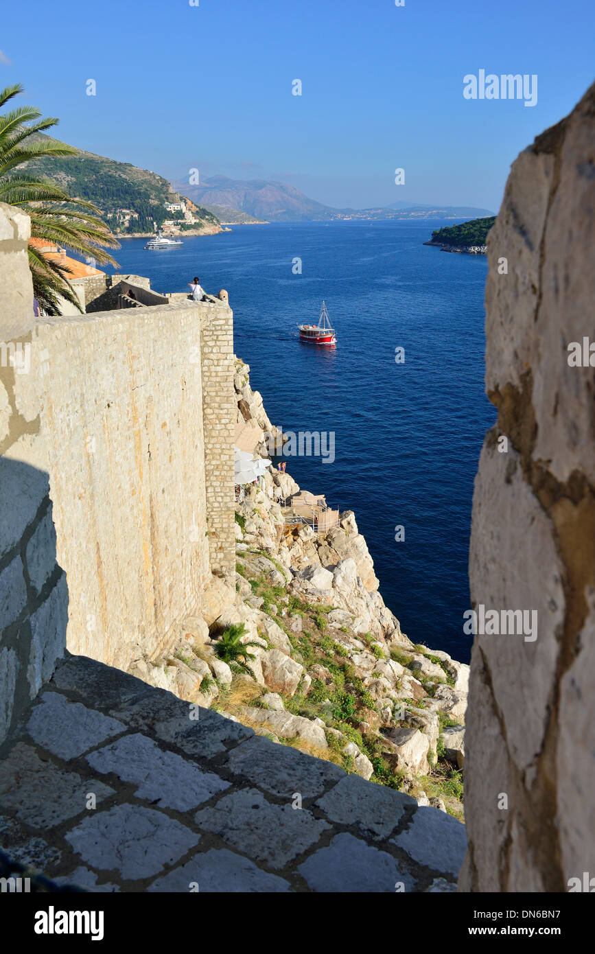 Dubrovnik looking south from the fortified walls of the city to the crystal clear Adriatic coastline and its many islands. - Stock Image