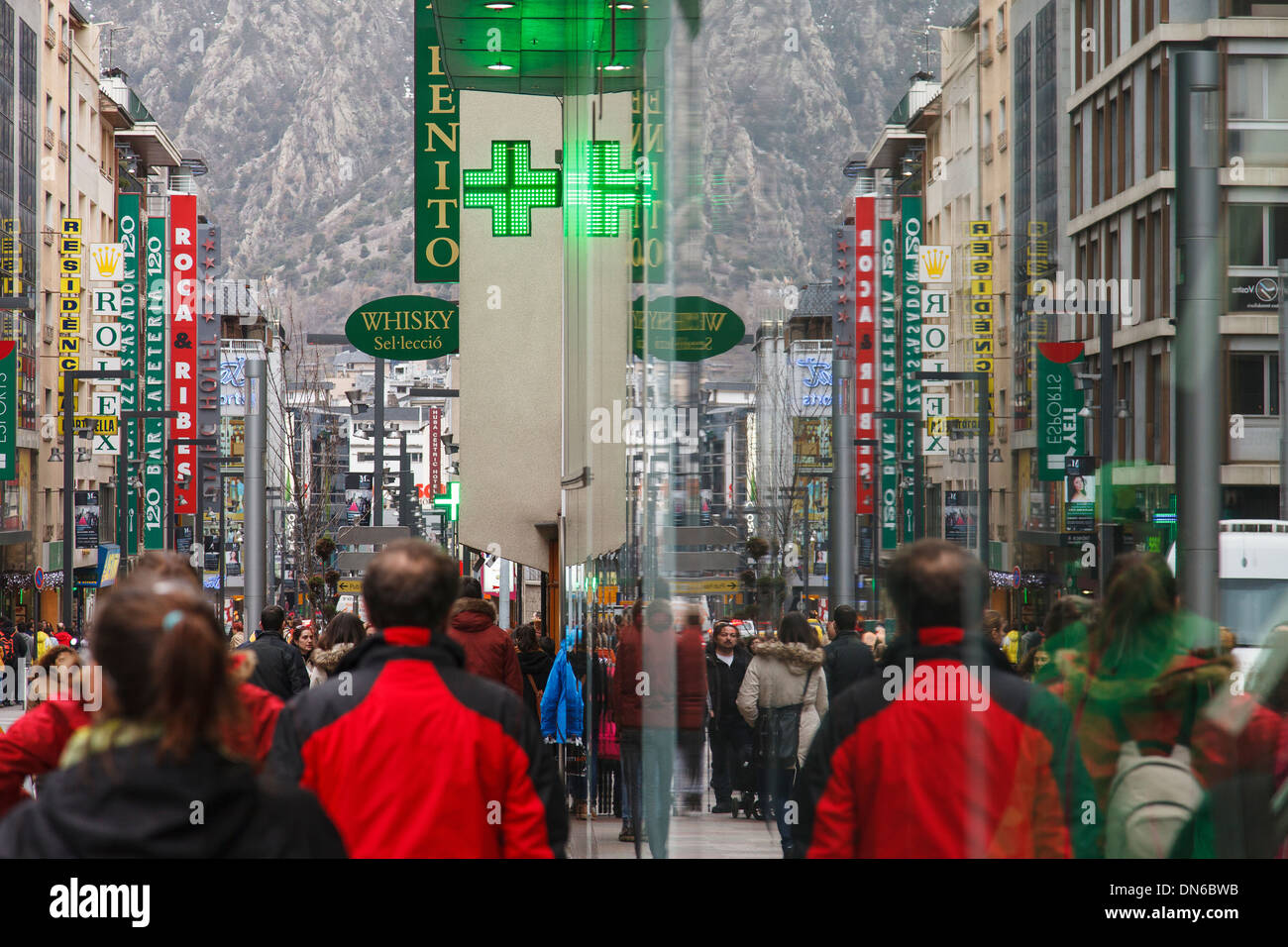 Comercial street in winter. Andorra - Stock Image
