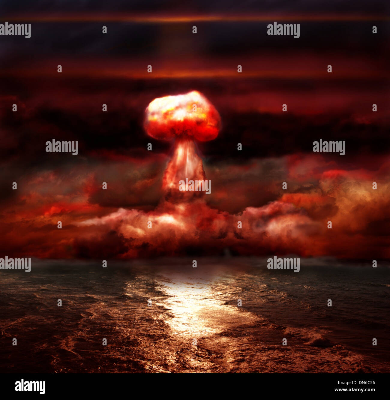 explosion of nuclear bomb over sea - Stock Image