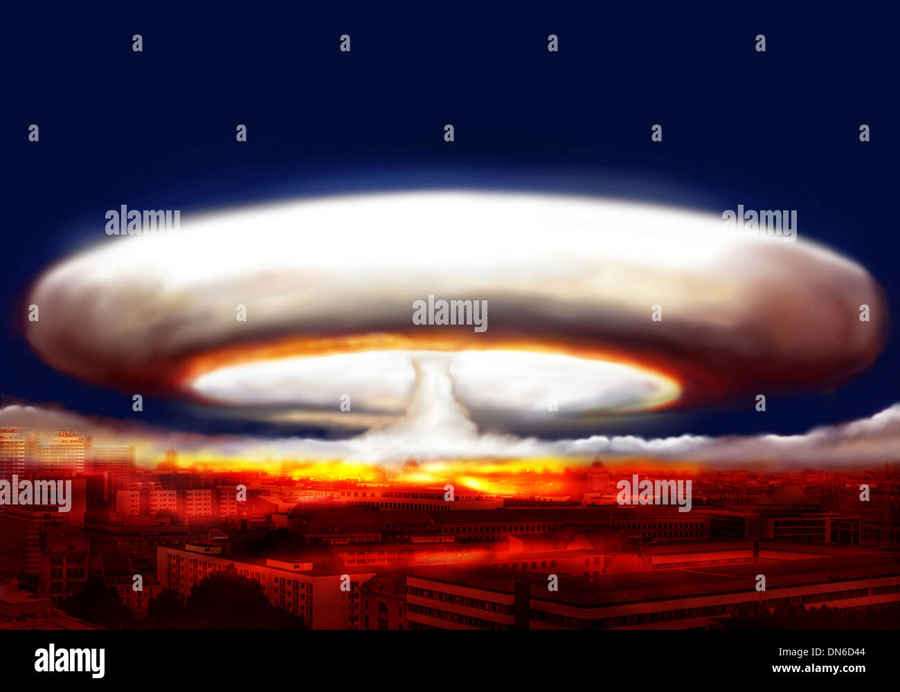 explosion of nuclear bomb over city - Stock Image