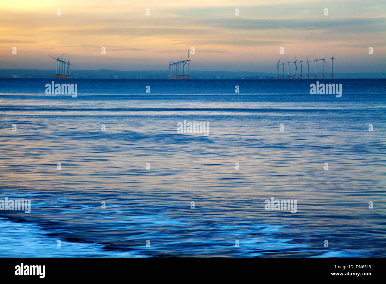 Teeside Offshore Wind Farm from Saltburn by the Sea Redcar and Cleveland England Stock Photo