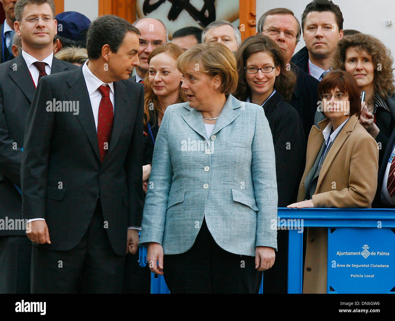 Former Spain´s prime minister Zapatero meets German chancellor Angela Merkel during a meeting in Palma de Majorca, Stock Photo