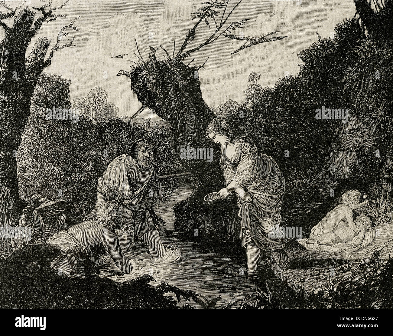 Classical mythology. Leto with his twin sons Apollo and Artemis. Engraving in The Iberian Illustration, 1885, - Stock Image