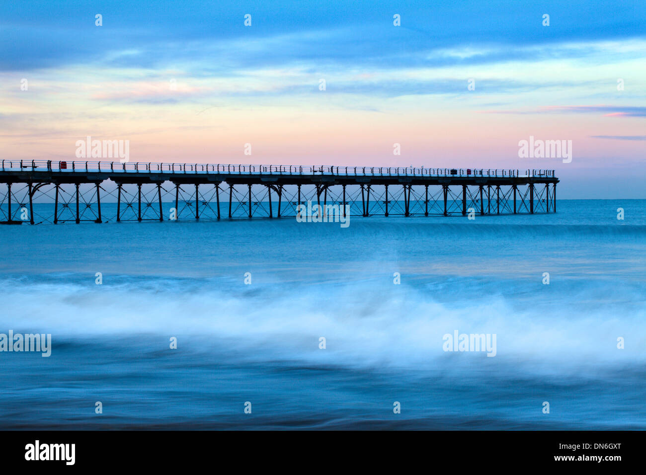 Breaking Wave at Saltburn Pier Saltburn by the Sea Redcar and Cleveland England - Stock Image