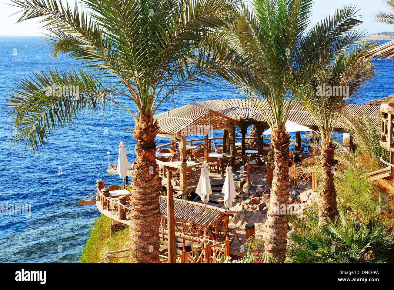 Outdoor Restaurant And Beach At The Luxury Hotel Sharm El Sheikh Stock Photo Alamy