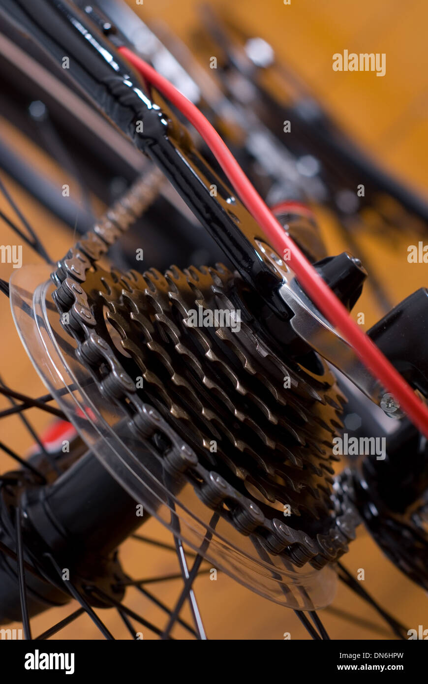 mountain bike cassette on the wheel with chain of close up - Stock Image