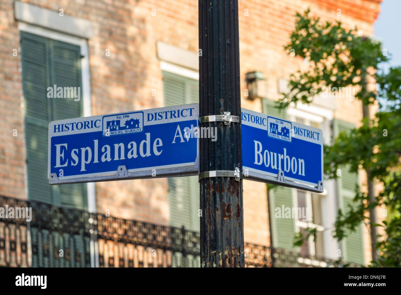 A street sign at the corner of Bourbon Street and Esplanade Avenue in the French Quarter of New Orleans, Louisiana - Stock Image