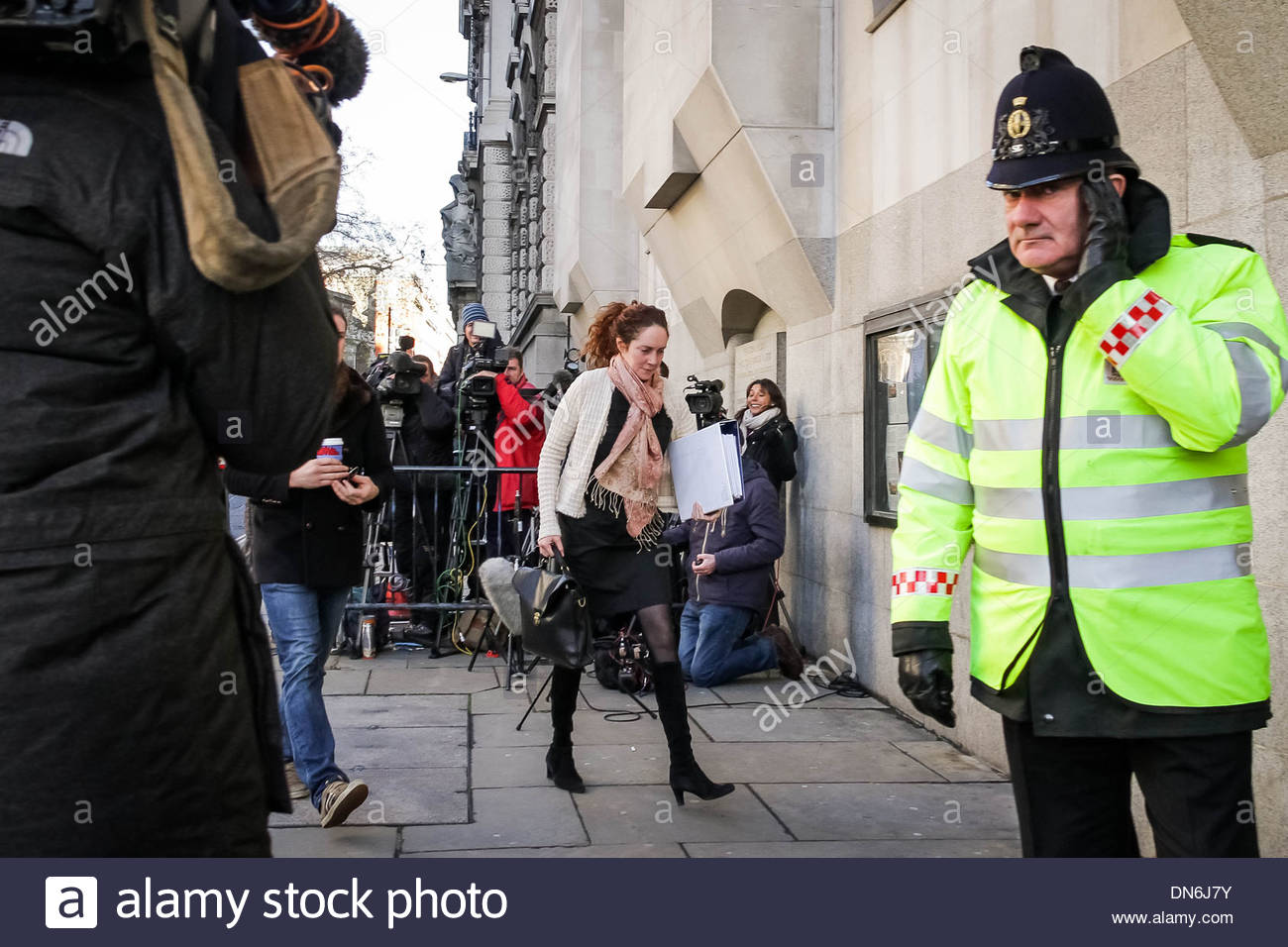 Rebekah Brooks arrives at Old Bailey court, London to continue trial arising from the News International phone hacking scandal. - Stock Image
