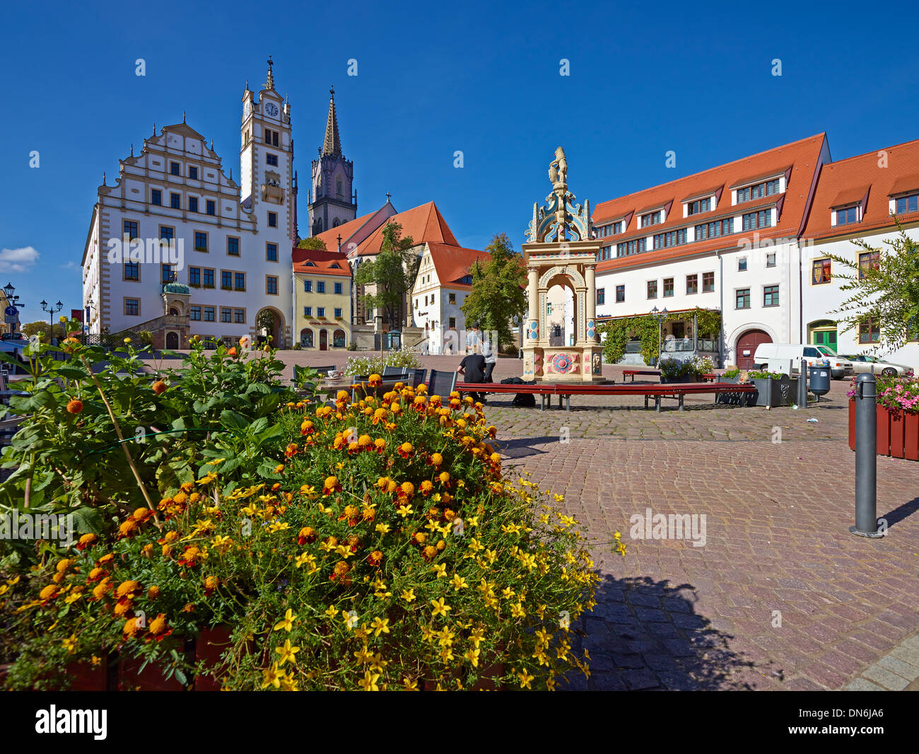 Neumarkt with fountain, town hall and St. Aegedien church in Oschatz, Nordsachsen district, Saxony, Germany Stock Photo