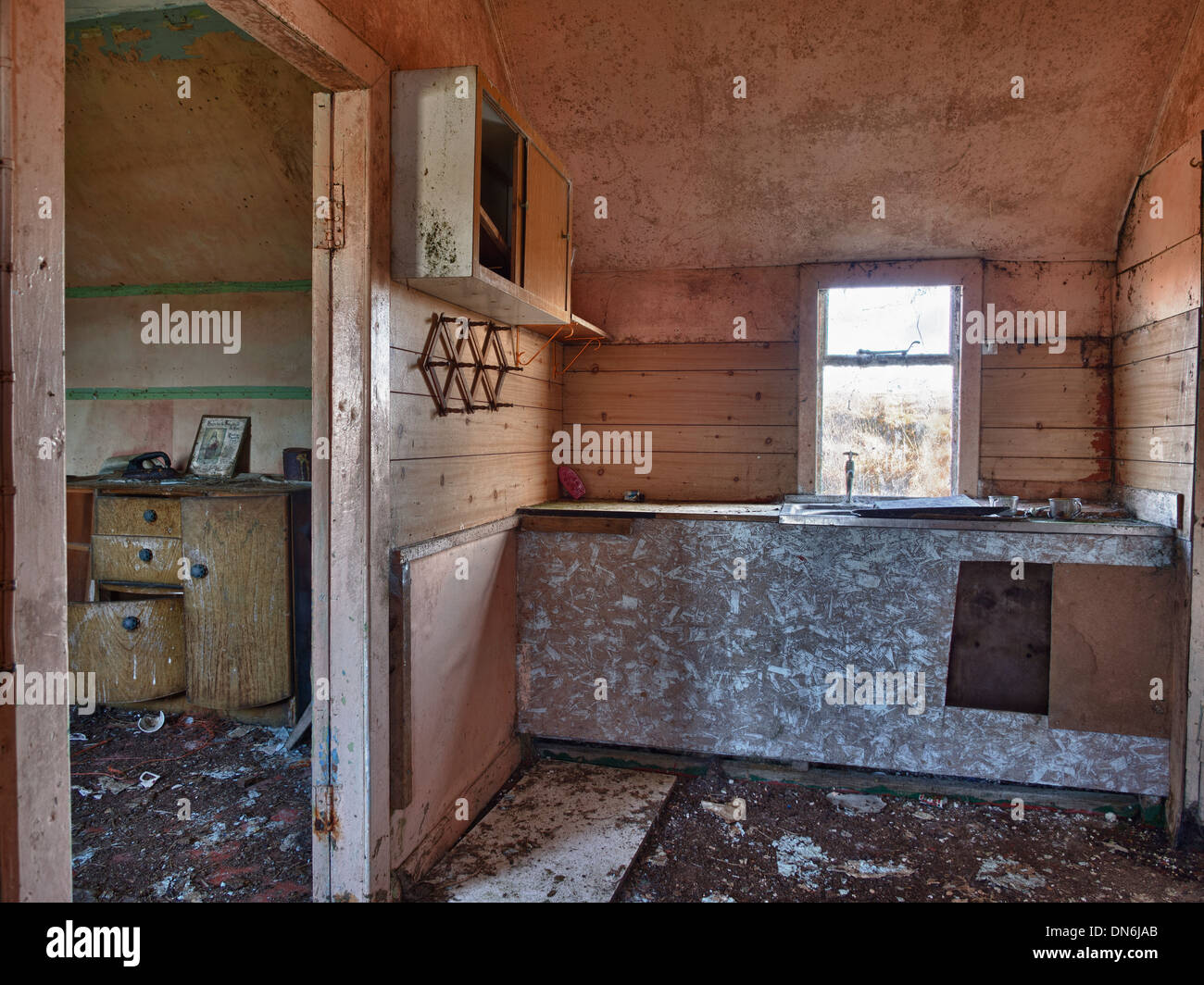 Kitchen Of Abandoned House South Uist