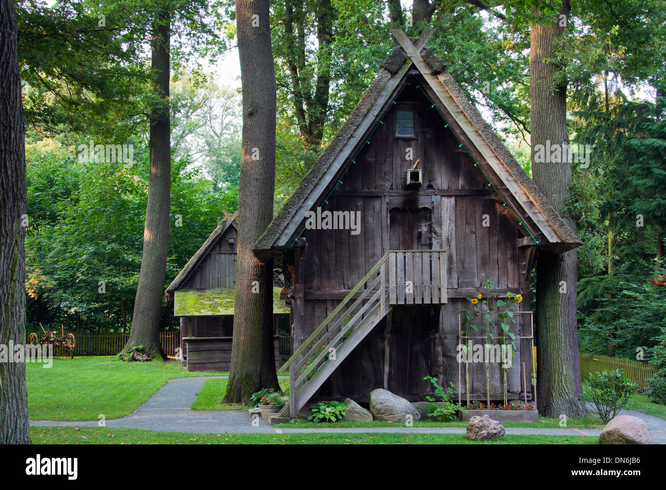 Treppenspeicher, wooden granary at the Rischmannshof Heath Museum, open air museum at Walsrode, Lüneburg Heath, Germany - Stock Image