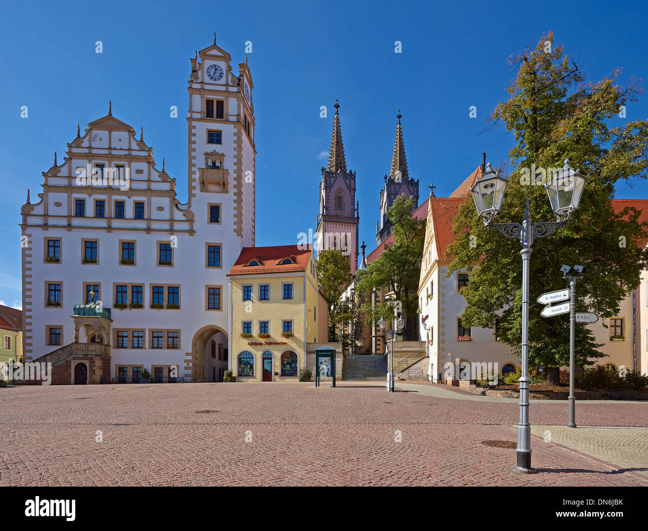 Neumarkt with town hall and St. Aegedien church in Oschatz, Nordsachsen district, Saxony, Germany Stock Photo
