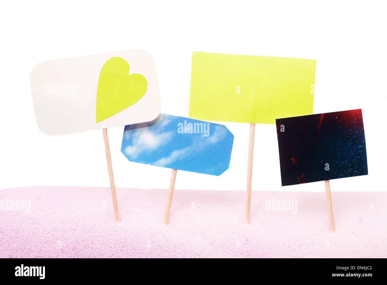 advertise blank on wood stick - Stock Image