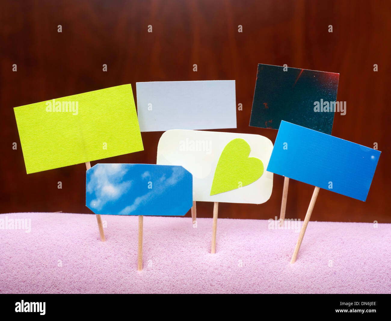 advertise blank on wood texture - Stock Image