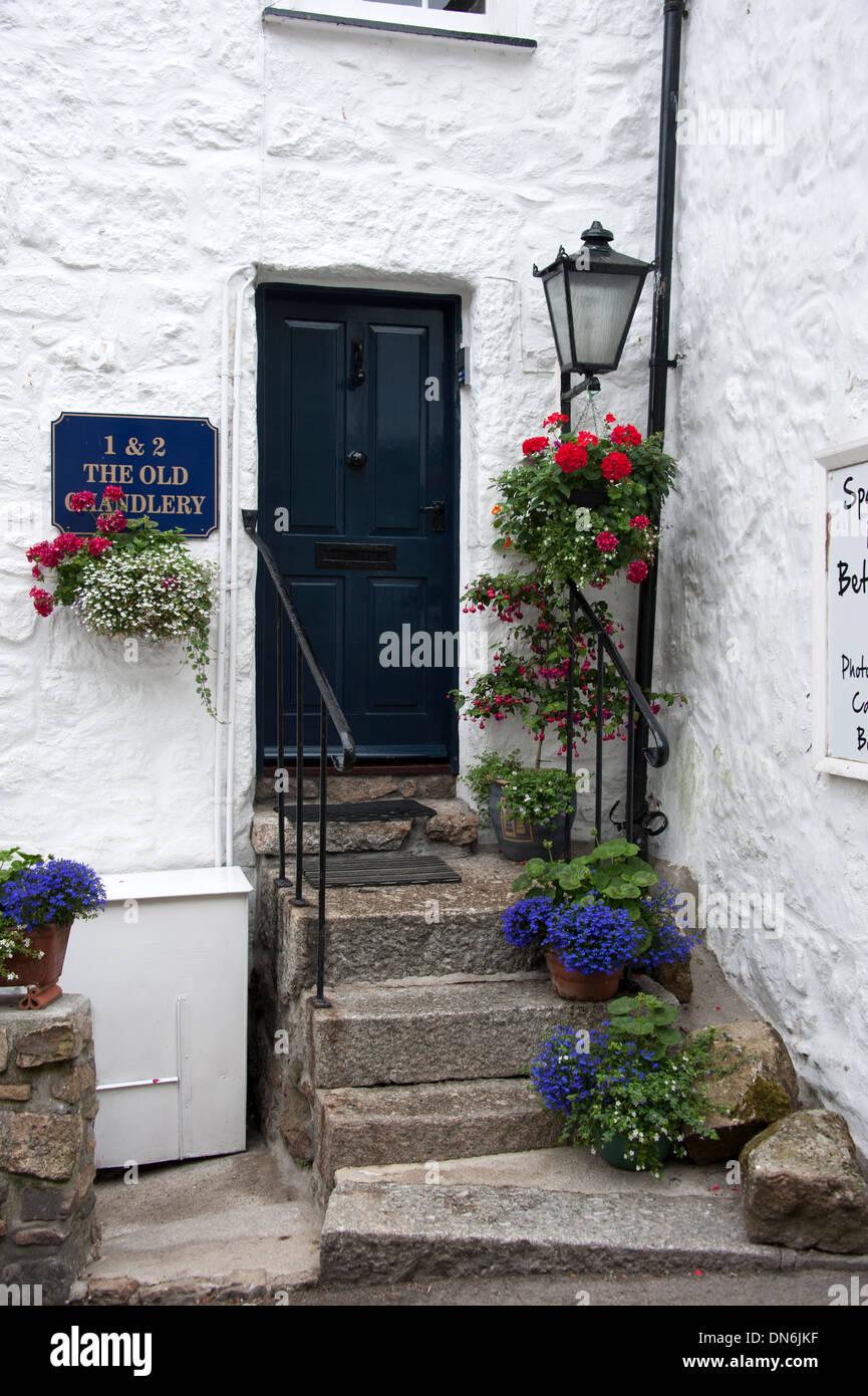 Old Cornish Fishermans Cottage Door Flowers Mousehole Cornwall UK & Old Cornish Fishermans Cottage Door Flowers Mousehole Cornwall UK ...