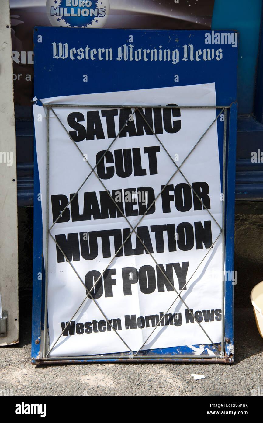Satanic Cult Pony Mutilation Sensational Headline - Stock Image
