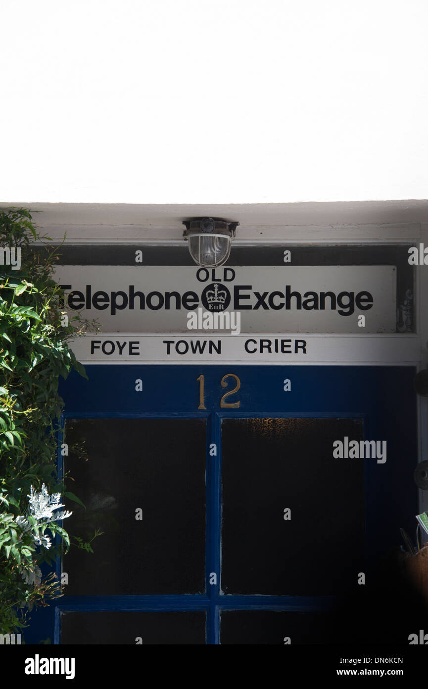 Fowey Town Telephone Exchange Crier Cornwall UK - Stock Image