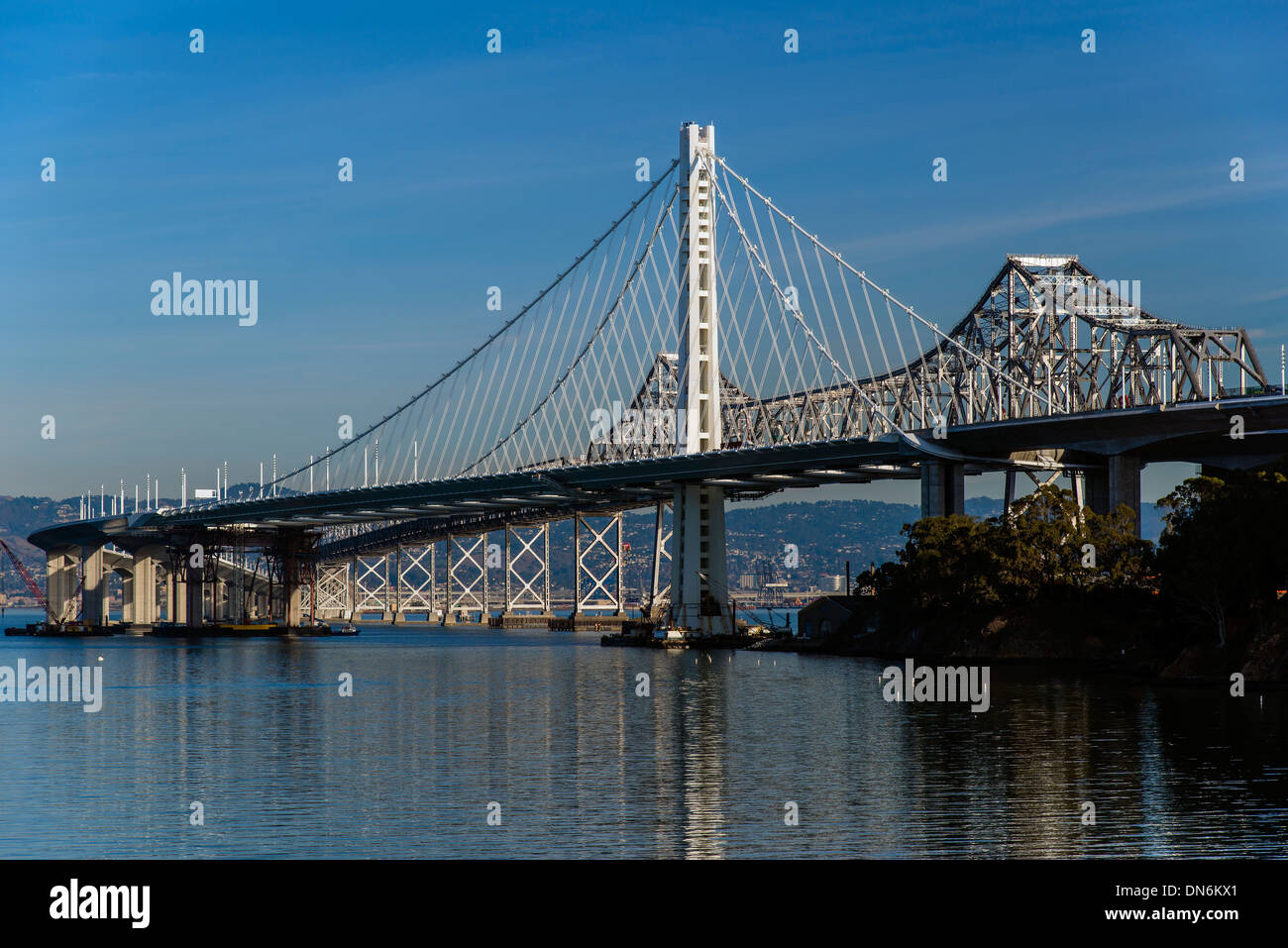 The new eastern span of Bay Bridge seen from Treasure Island, San Francisco, California, USA - Stock Image