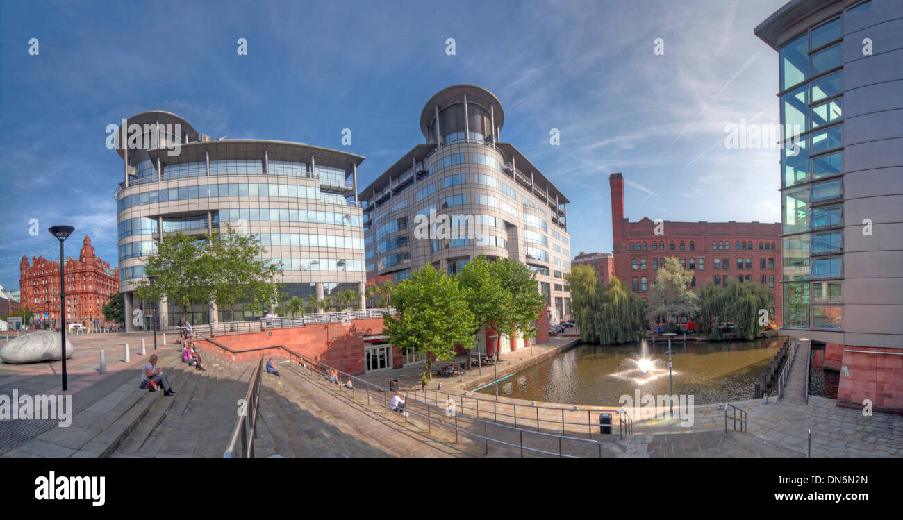 Wide angle shot of Bridgewater Hall & 101 Barbirolli Square Manchester, England UK - Stock Image