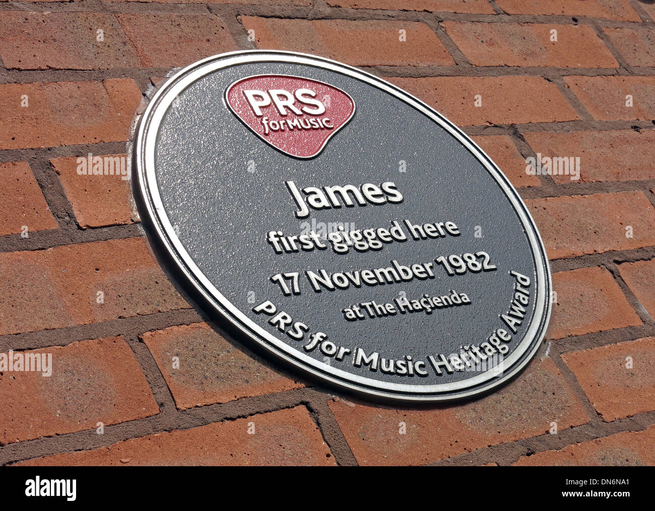 James PRS for Music Hacienda plaque Manchester England UK - Stock Image