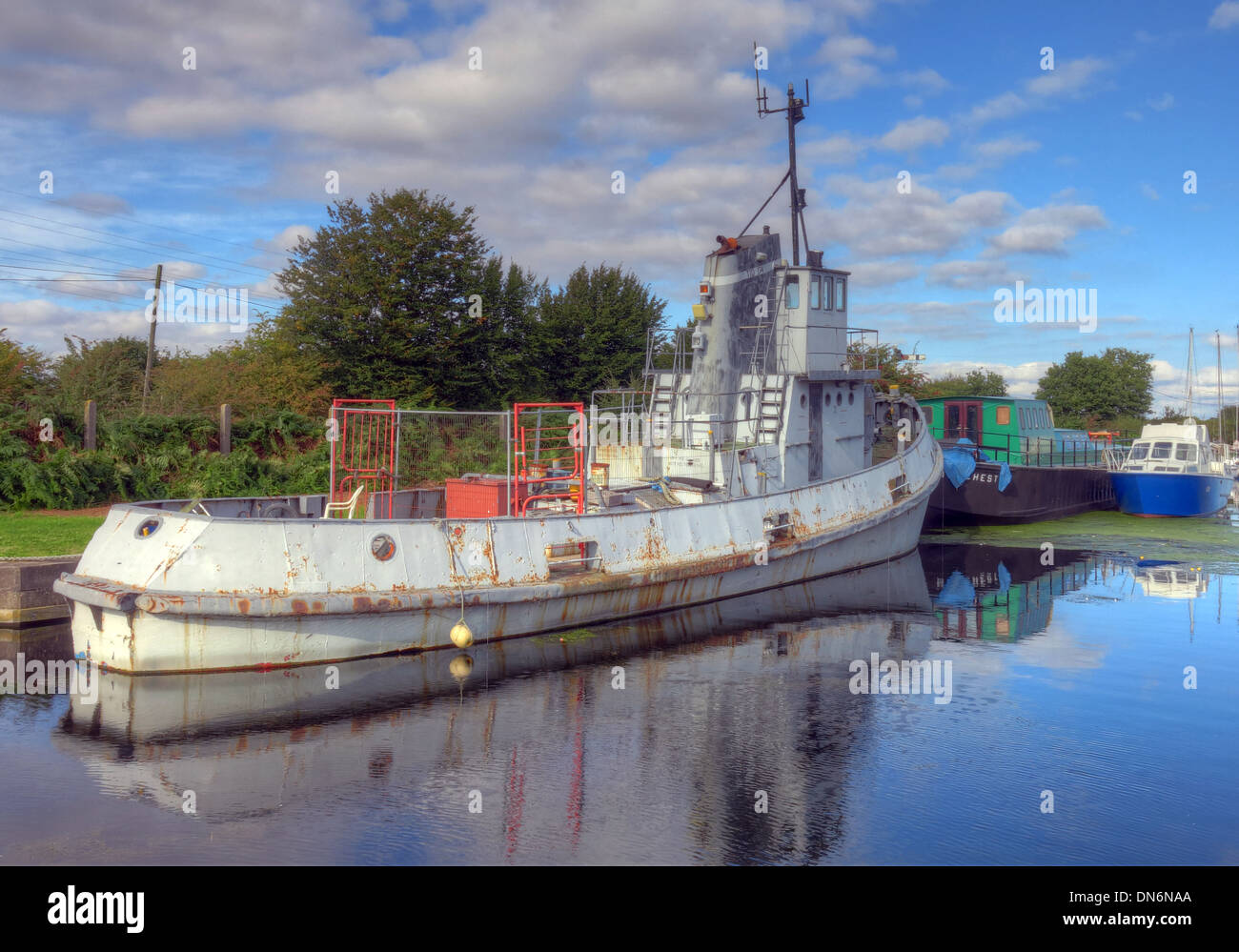 Boat on the Sankey Canal Reflection Warrington Cheshire England UK - Stock Image