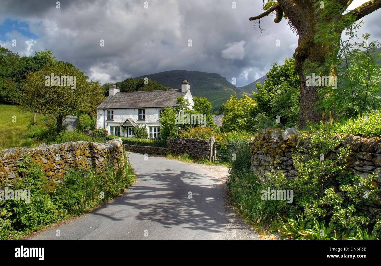 Pretty Cumbrian cottage near Grasmere, The Lake District, England. - Stock Image