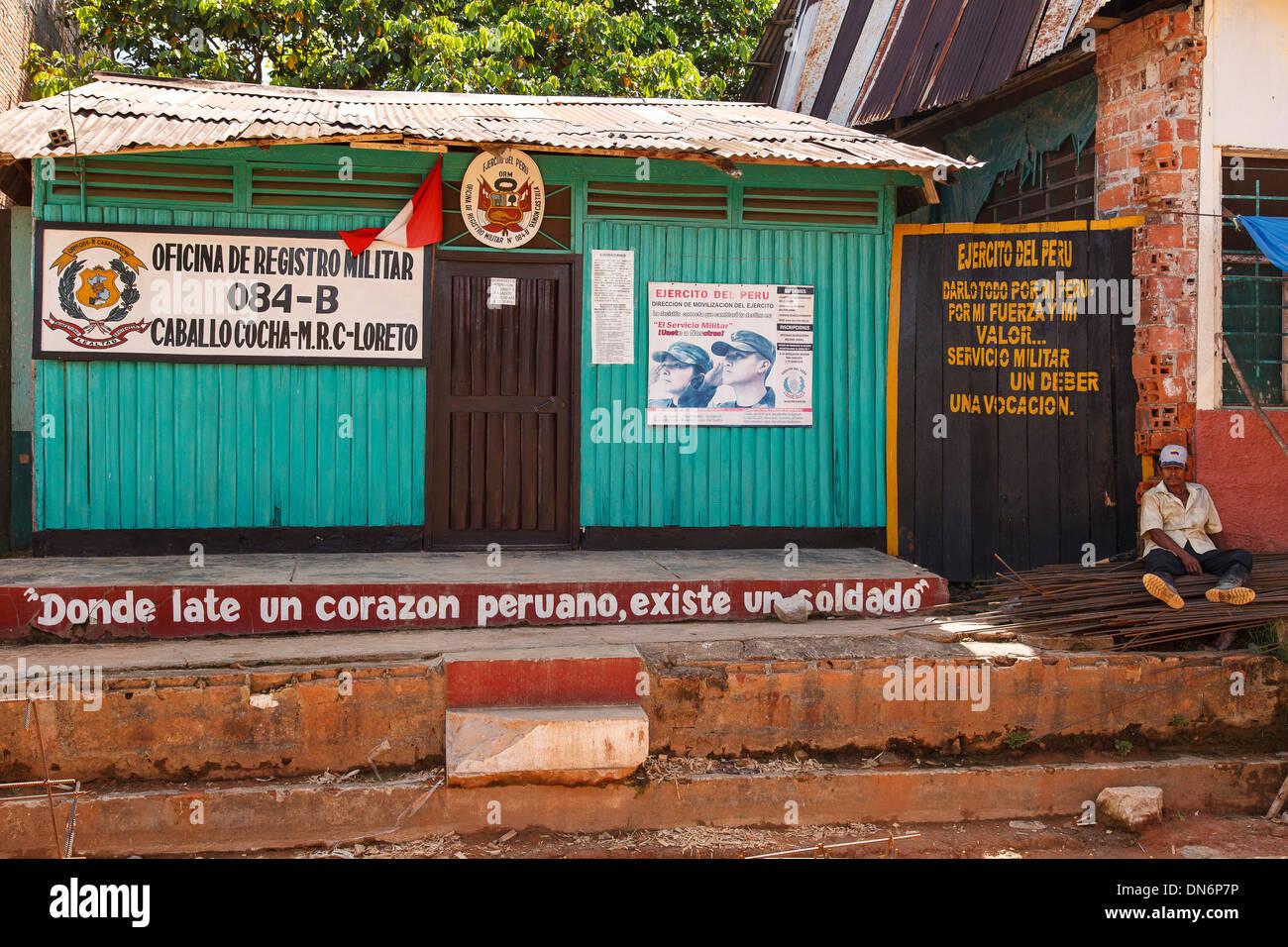 Military registration office, Caballococha, Amazonas river, Loreto, Peru - Stock Image