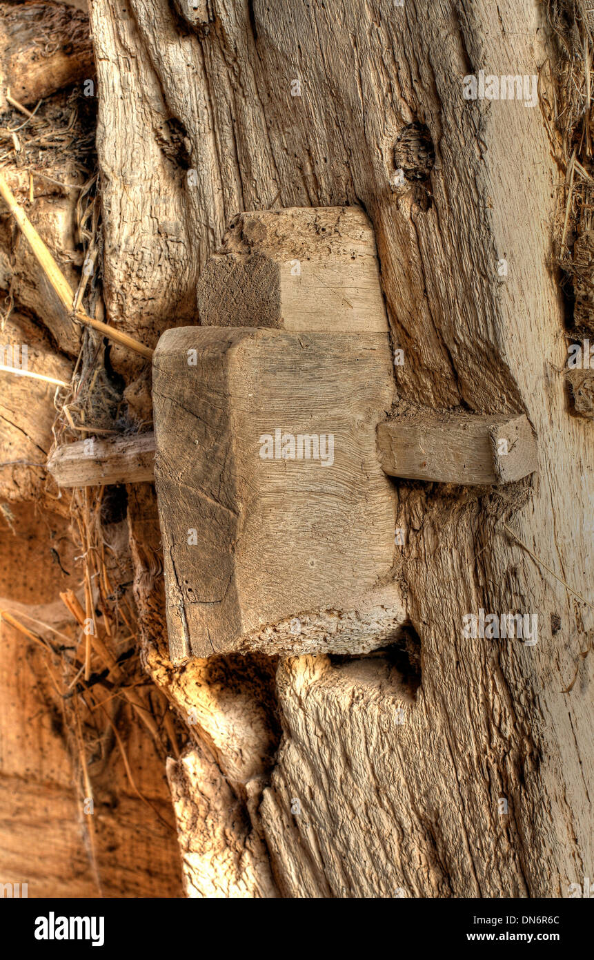 Mortise and Tenon pegged joint detail. Old Worcestershire barn, England. - Stock Image
