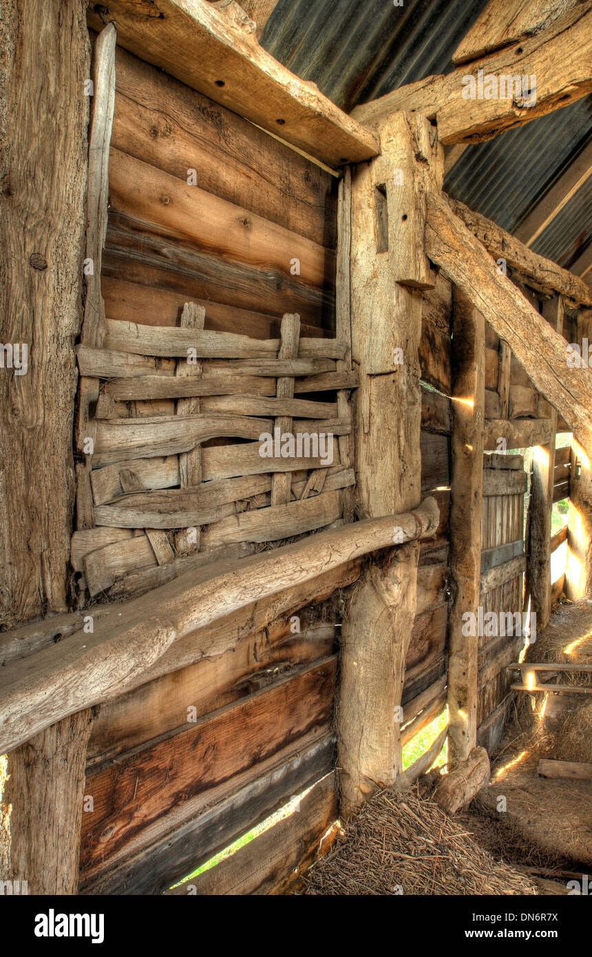 Interior of timber-framed barn showing wattle infill detail, Worcestershire, England. - Stock Image