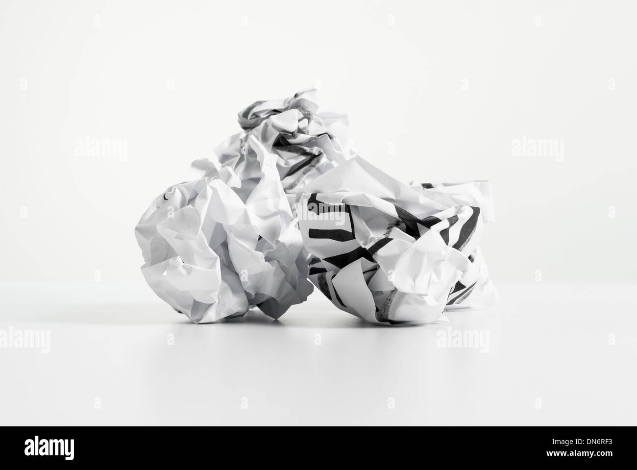 Three paper ball on desk - Stock Image