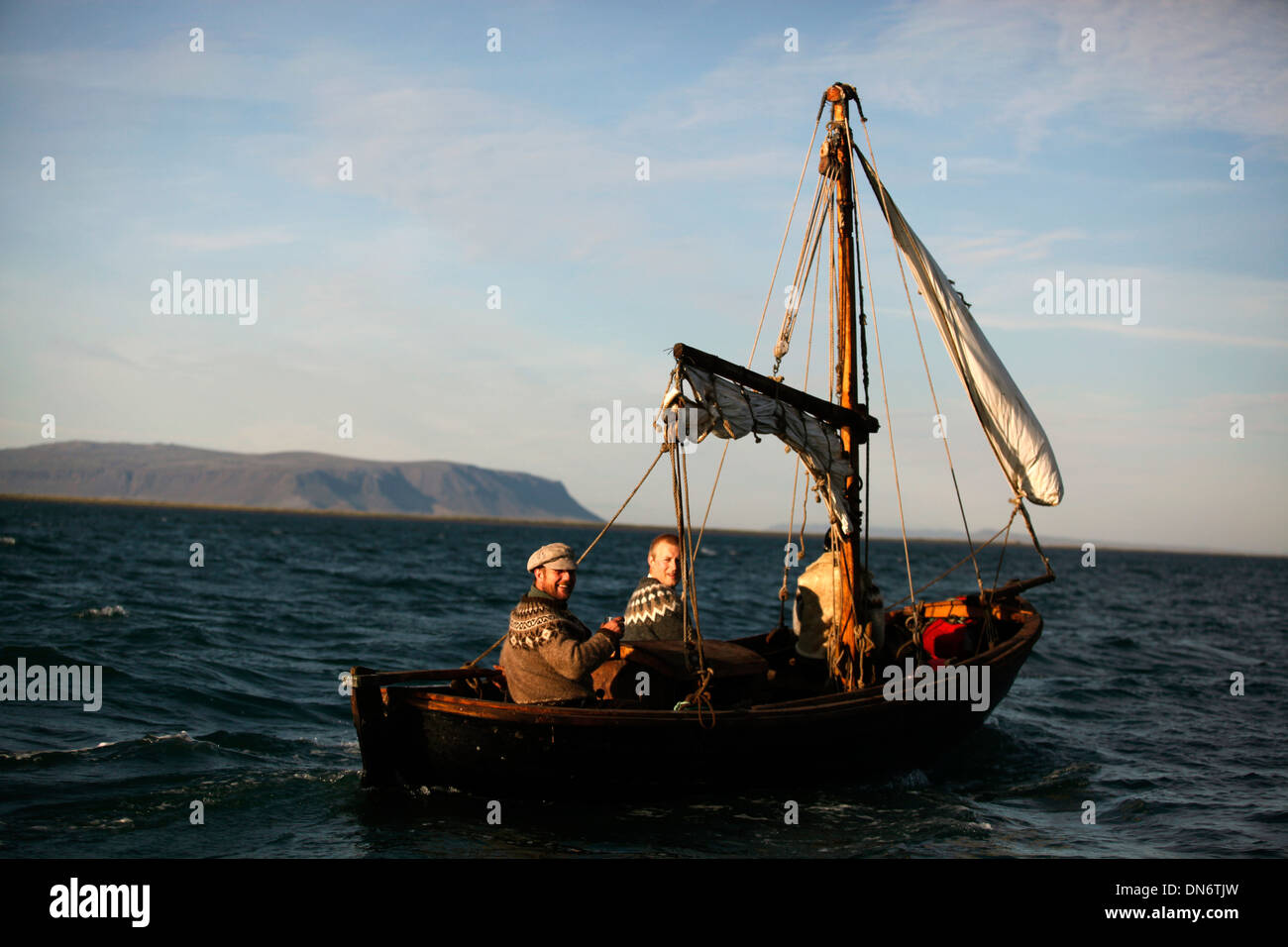 Sailing in the North Atlantic Ocean, Iceland. - Stock Image