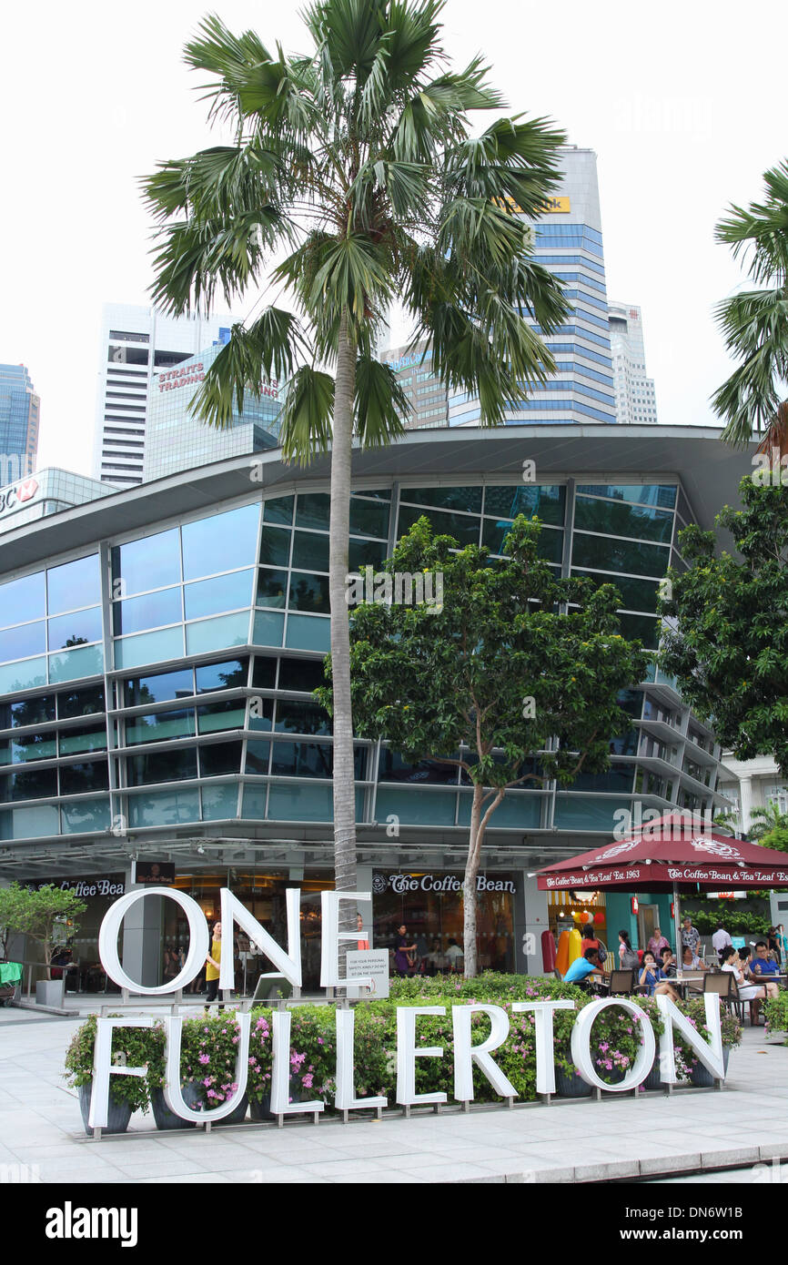 One Fullerton Sign. One Fullerton Place. Singapore. - Stock Image