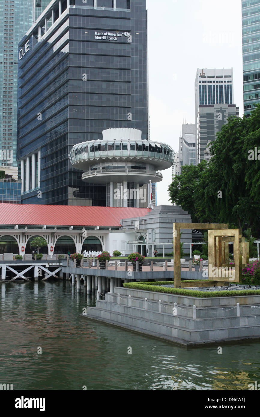 Change Alley Aerial Plaza is the round building. Raffles Place, Singapore. - Stock Image