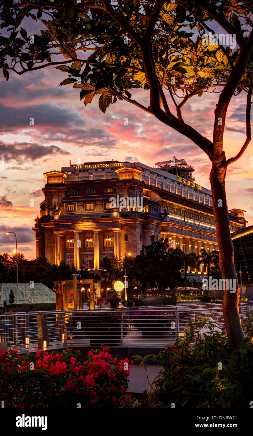The Fullerton Hotel. Singapore. HDR photo processing. - Stock Image