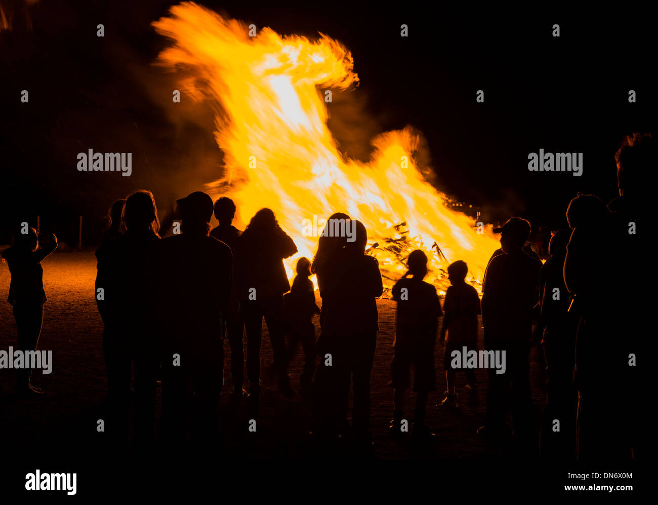 High school students gather for annual autumn pep rally and bonfire Stock Photo