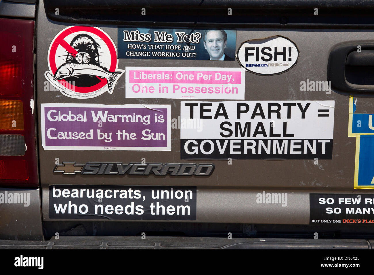 Right wing political bumper stickers stock image