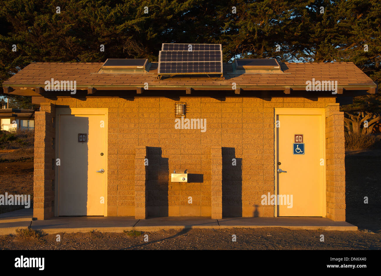 Solar Panels On Public Bathroom Stock Photo Alamy - Public bathroom wall panels