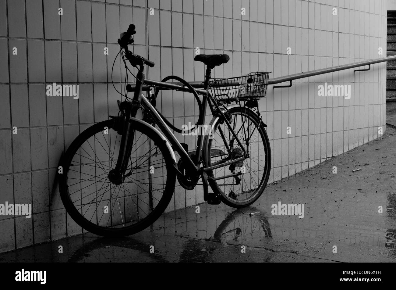 City bicycle parked in the subway - Stock Image