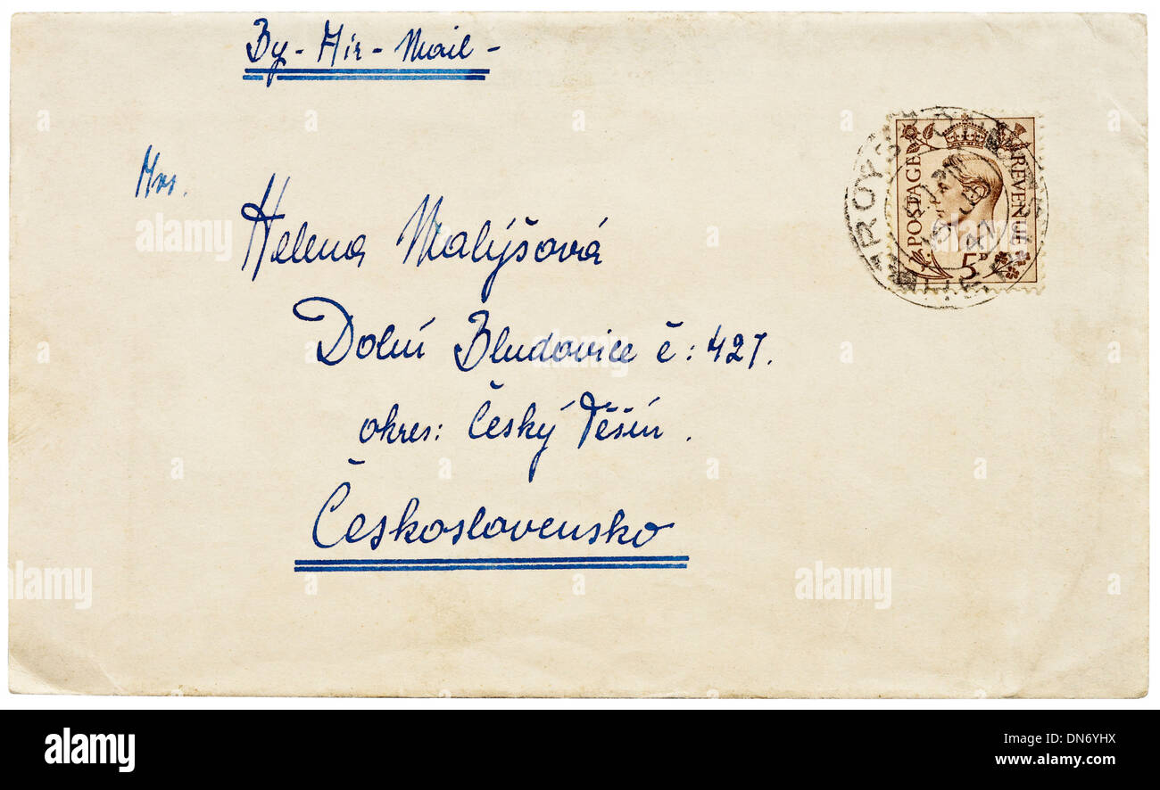 1947 British air-mail envelope with 5d King George VI definitive stamp addressed to Czechoslovakia. - Stock Image